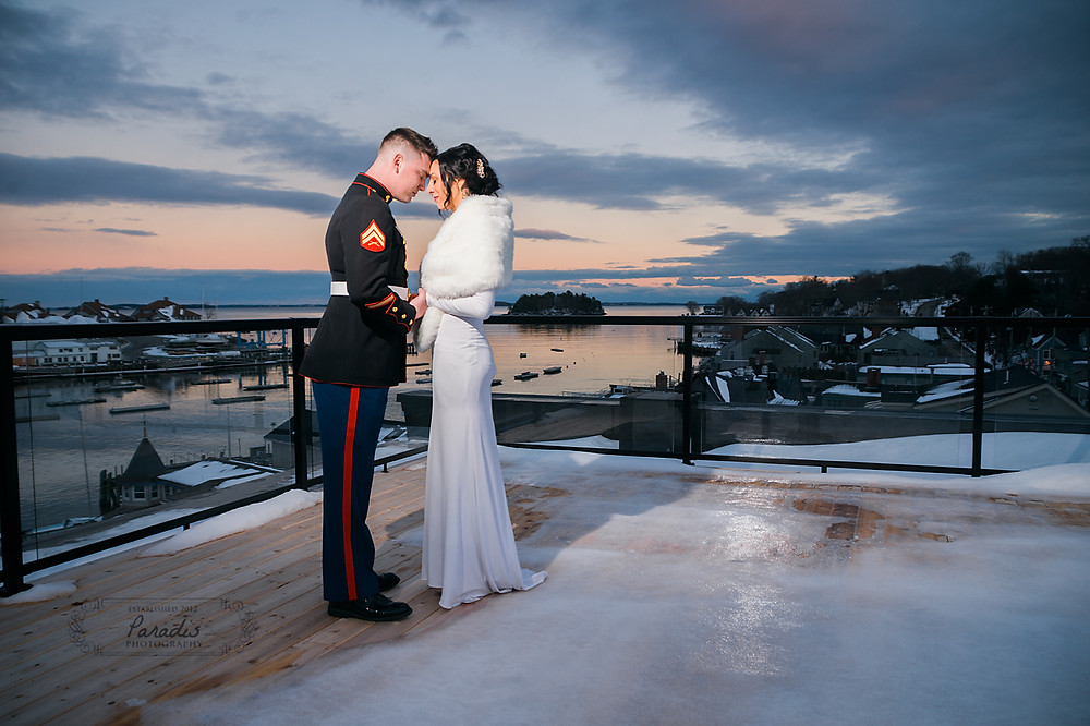 rooftop sunset with bride and groom in camden maine