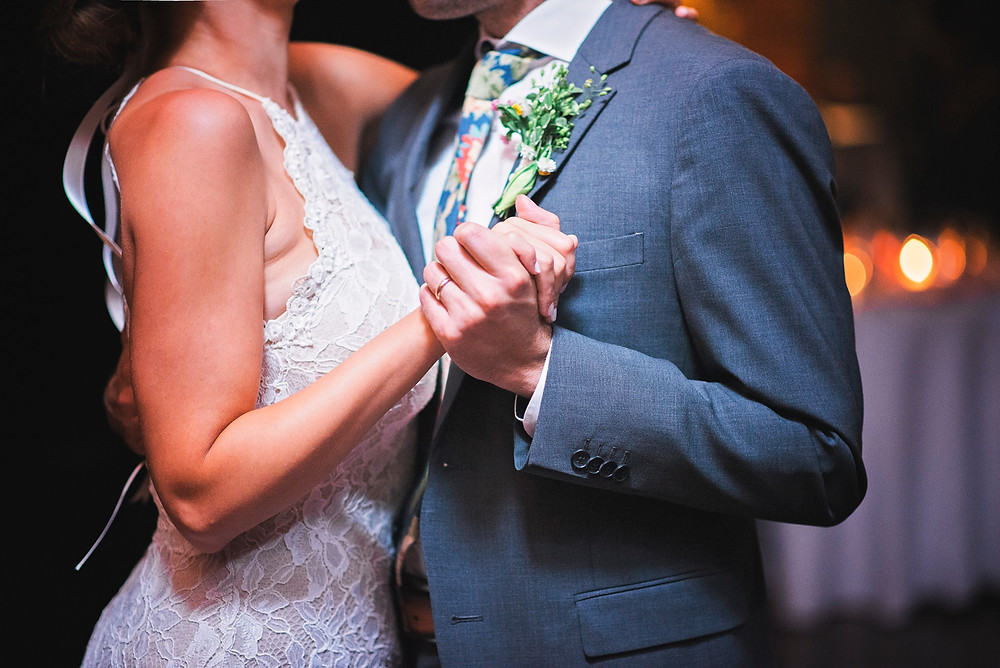 bride and groom share their first dance in portland maine