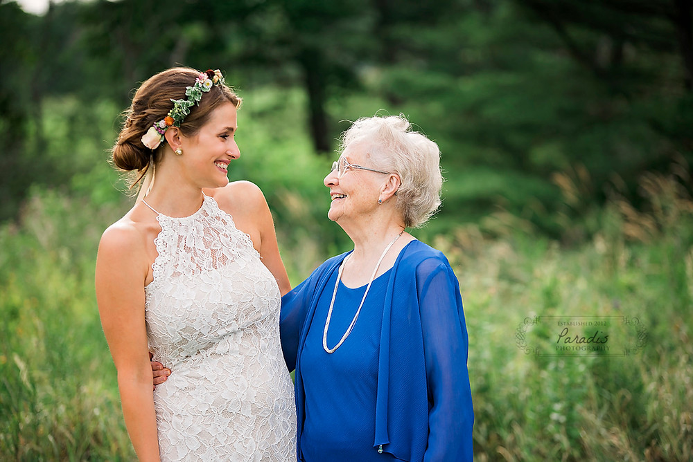 Bride and her grandmother on her wedding day