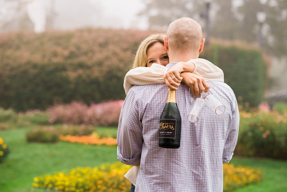 champagne engagement session in prescott park portsmouth new hampshire by maine wedding photographer paradis photography