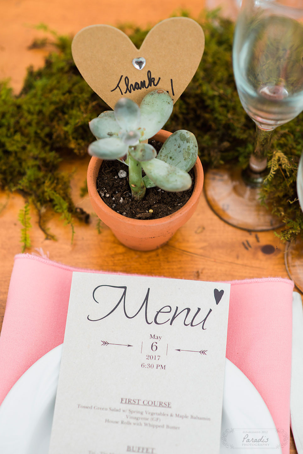 succulent centerpiece and wedding favor