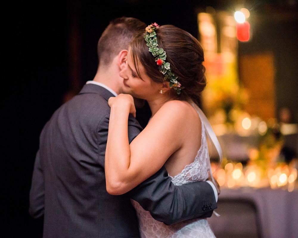 enjoying their wedding reception at empire kitchen in portland maine