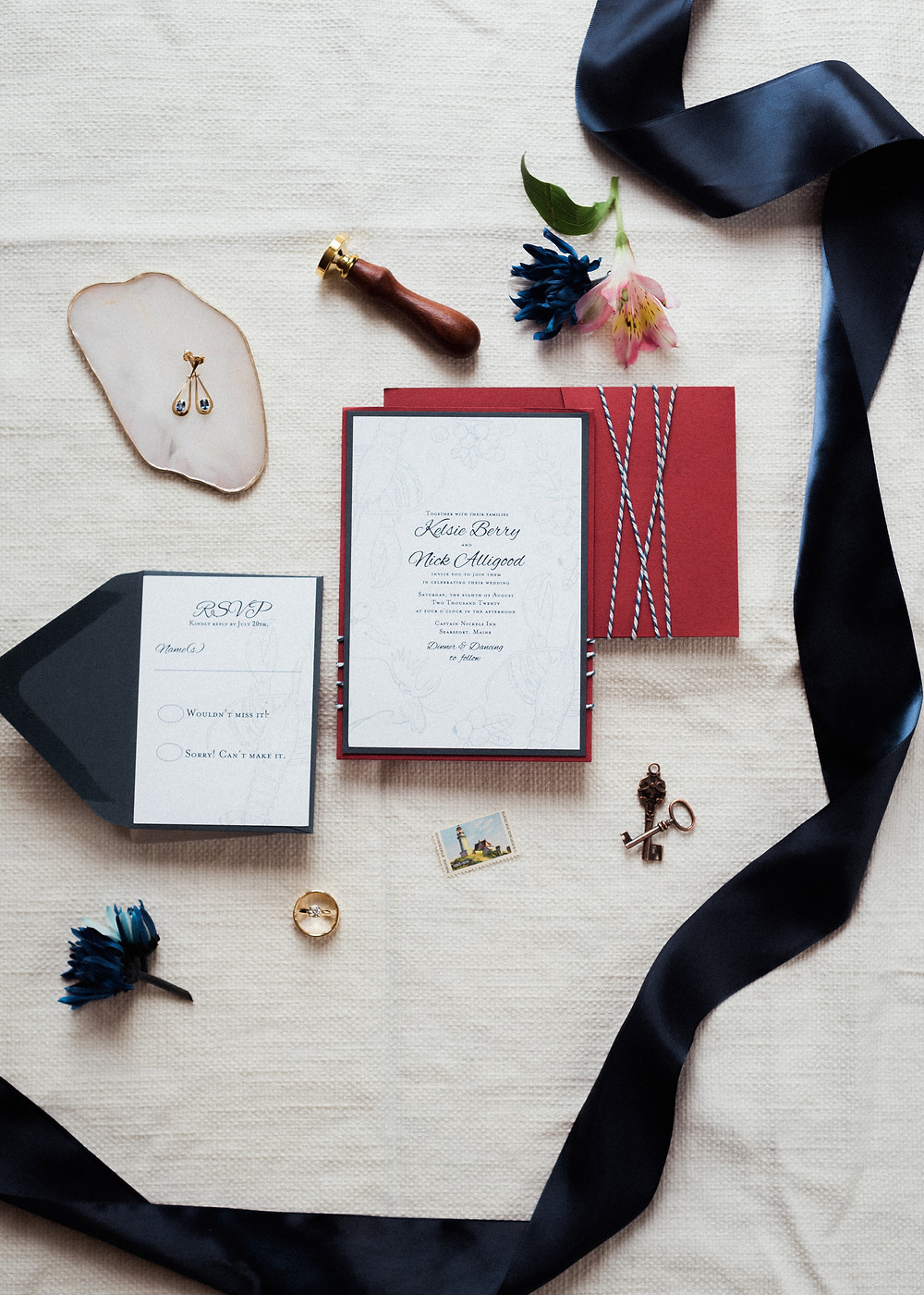 nautical invitation flat lay