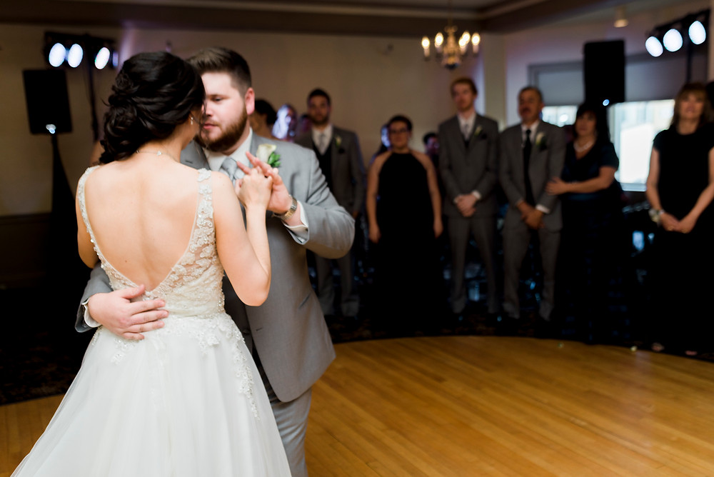 bride and groom first dance at the bethel inn in maine