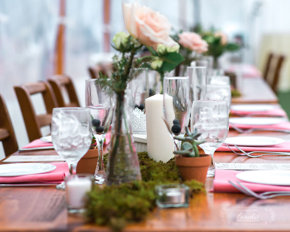 wedding centerpieces and table setting with maine blueberries