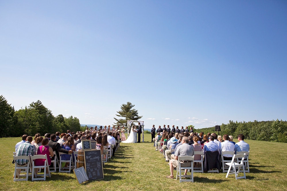 maine backyard Wedding ceremony in a field