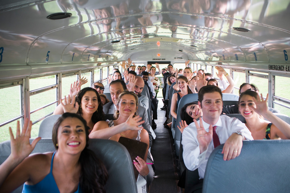 bus transports wedding guests to the reception in portland maine
