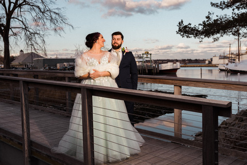 Bridge Bride and Groom in Rockland, ME