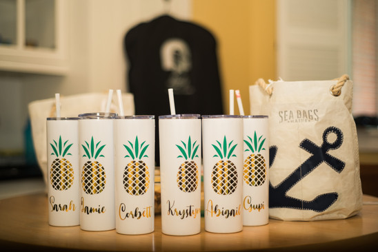 Personalized bridesmaids cups. Seabags gift bags.