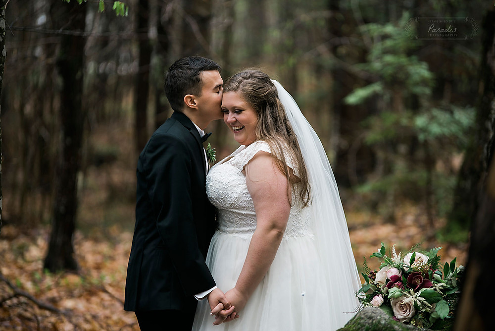 First look with bride and groom at their maine wedding
