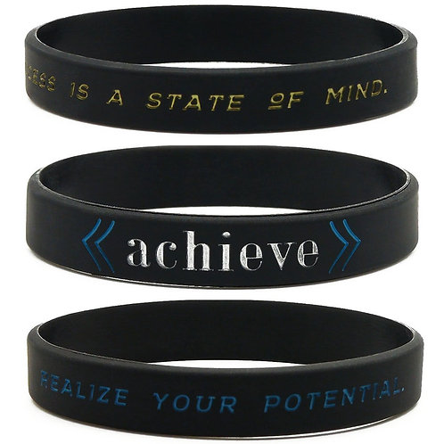 Success, Achieve, and Focus Motivational Wristbands, 6-pack