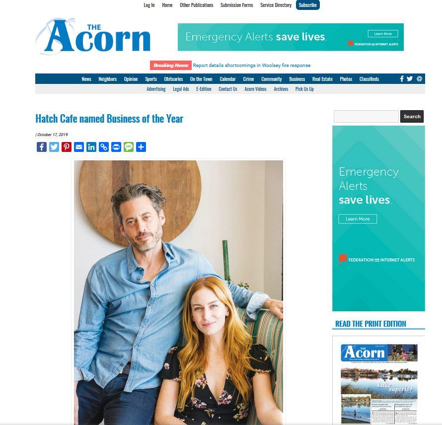 Hatch - Acorn biz of the year