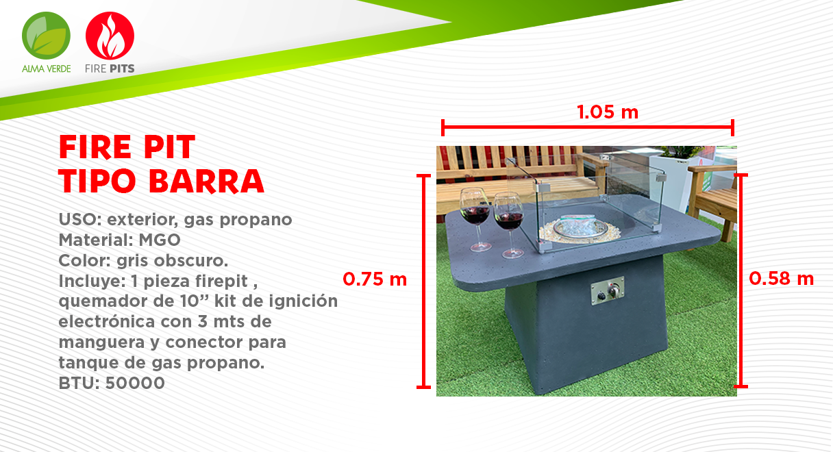 Fire Pit tipo Barra