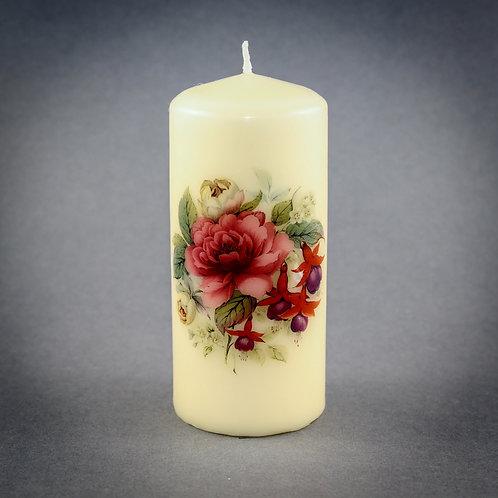 Rose and Fushia  Pillar Candle