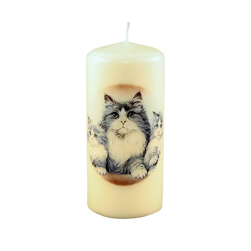 Grey Long Haired Cat Candle