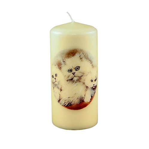 White Long Haired Cat Candle