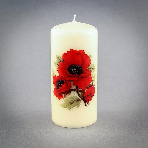 Poppy Pillar Candle