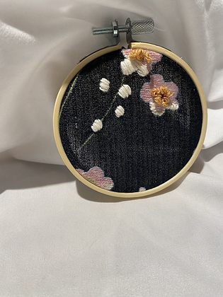 Winter '21 Floral Embroidery Art | Vintage Textile Scraps