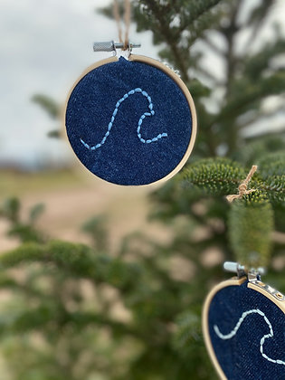 Wave Embroidered Ornaments | 2 Pack