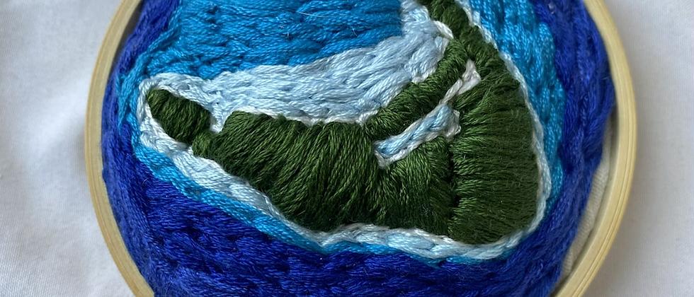 Spring '21 Nantucket Embroidery Art   Vintage Textile Scraps