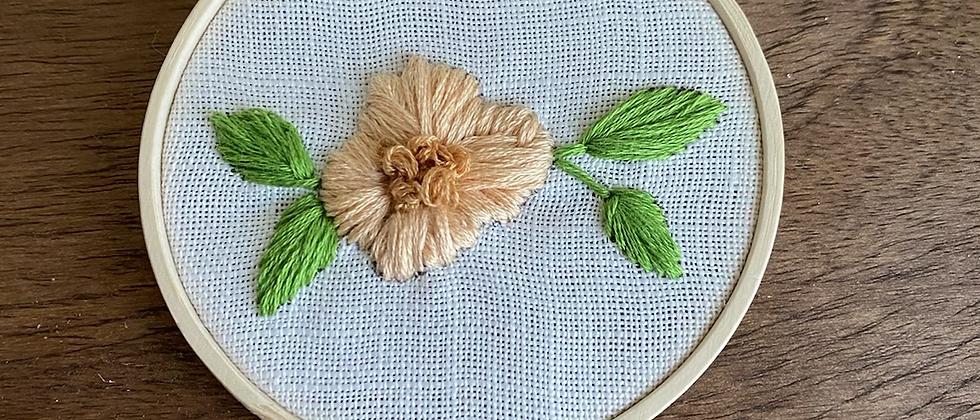 Winter '21 Floral Embroidery Art   Vintage Textile Scraps