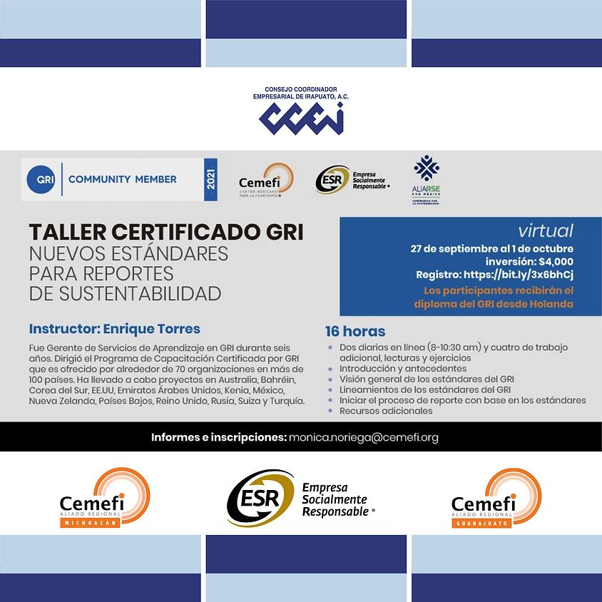 Taller Certificado GRI: Nuevos Estándares para Reportes de Sustentabilidad