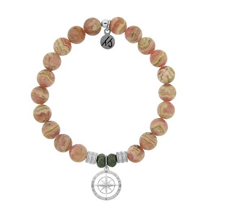 Rhodochrosite Bracelet with Compass Rose Charm