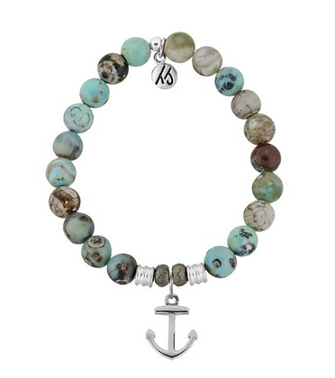 Turquoise Jasper Bracelet with Anchor Charm