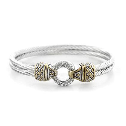 Pavé Circle Double Wire Bracelet