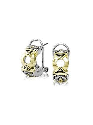 Antiqua Gold Circle Post Clip Earrings