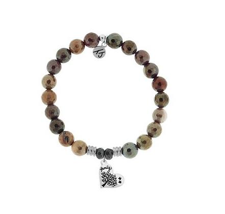 Mookaite Bracelet with Family Tree Charm