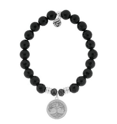 Onyx Bracelet with Tree of Life Charm