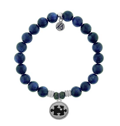 Kyanite Bracelet with Autism Awareness Charm