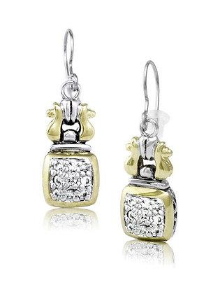Square Anvil Pavé Fish Hook Earrings