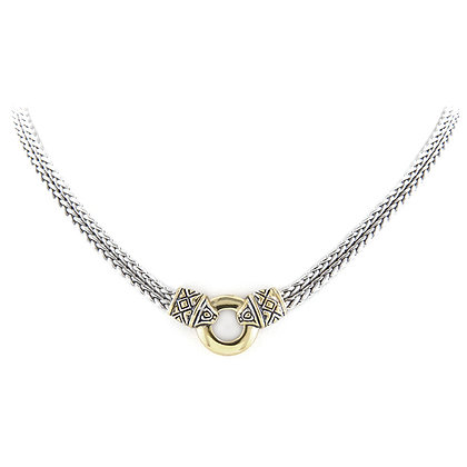 Gold Circle Double Strand Necklace