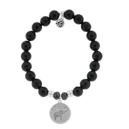 Onyx Bracelet with Lucky Elephant Charm