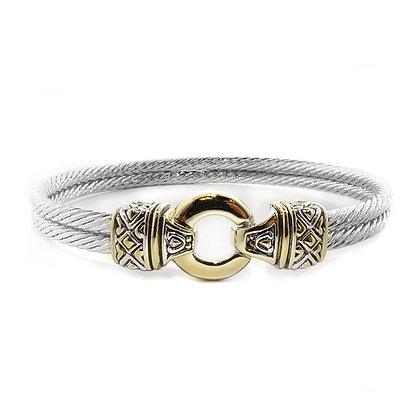 Gold Circle Double Wire Bracelet