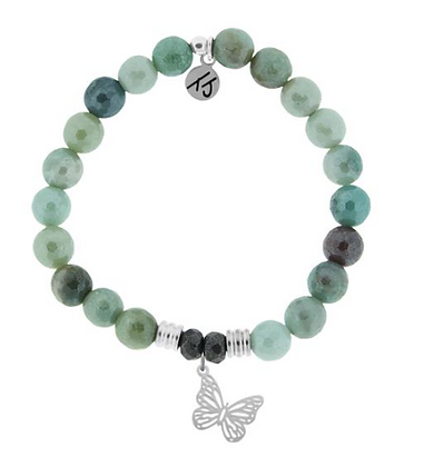 Amazonite Bracelet with Butterfly Charm