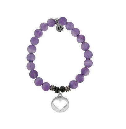Amethyst Bracelet with Heart Charm