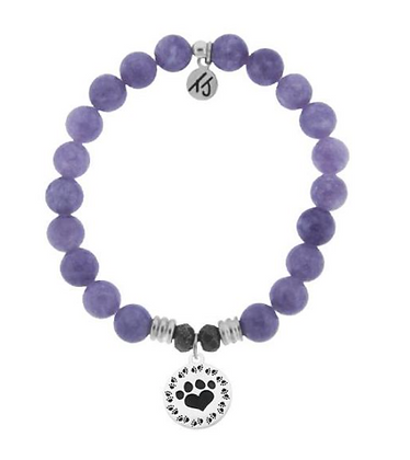 Purple Jade Bracelet with Paw Print Charm
