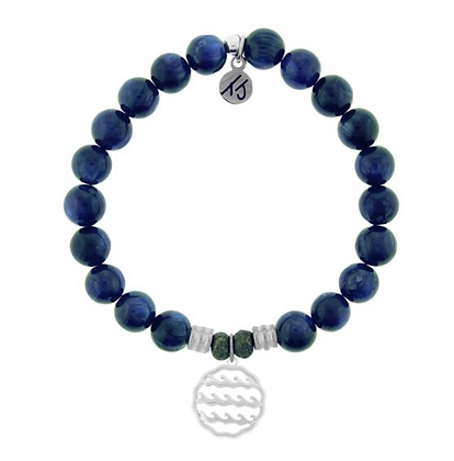 Kyanite Bracelet with Waves of Life Charm