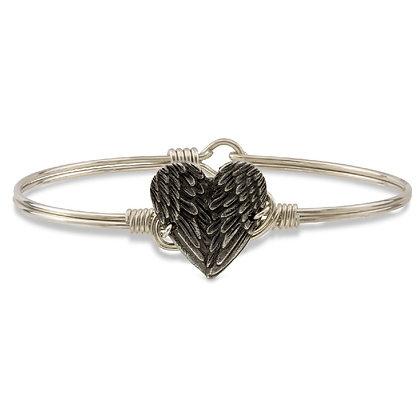 Angel Wing Heart Bangle Bracelet