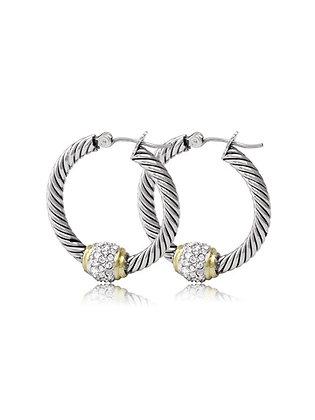 Pavé Twisted Wire Hoop Earrings