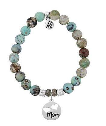 Turquoise Jasper Bracelet with Mom Charm