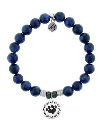 Kyanite Bracelet with Paw Print Charm