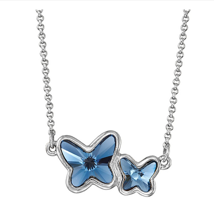 Luca and Danni Butterflies Necklace Denim Blue