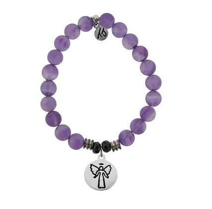 Amethyst Bracelet with Guardian Angel Charm