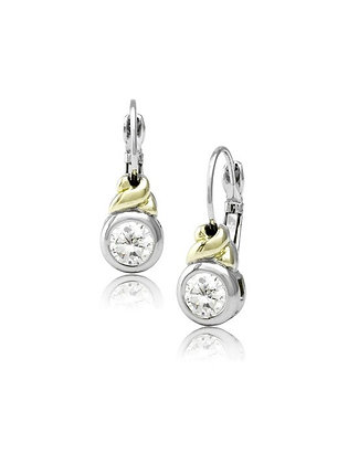 Antiqua CZ French Wire Clip Earrings