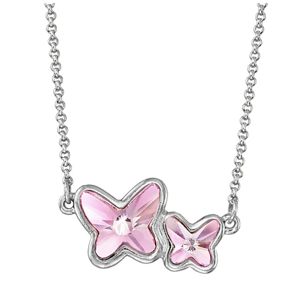 Luca and Danni Butterflies Necklace Light Rose