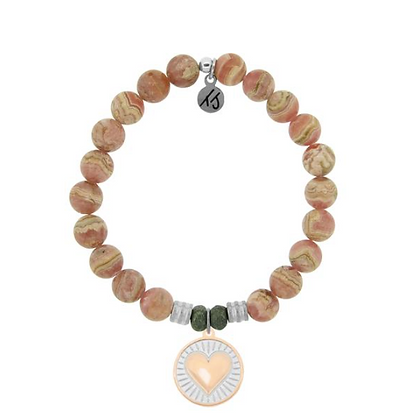 Rhodochrosite Bracelet with Heart of Gold Charm